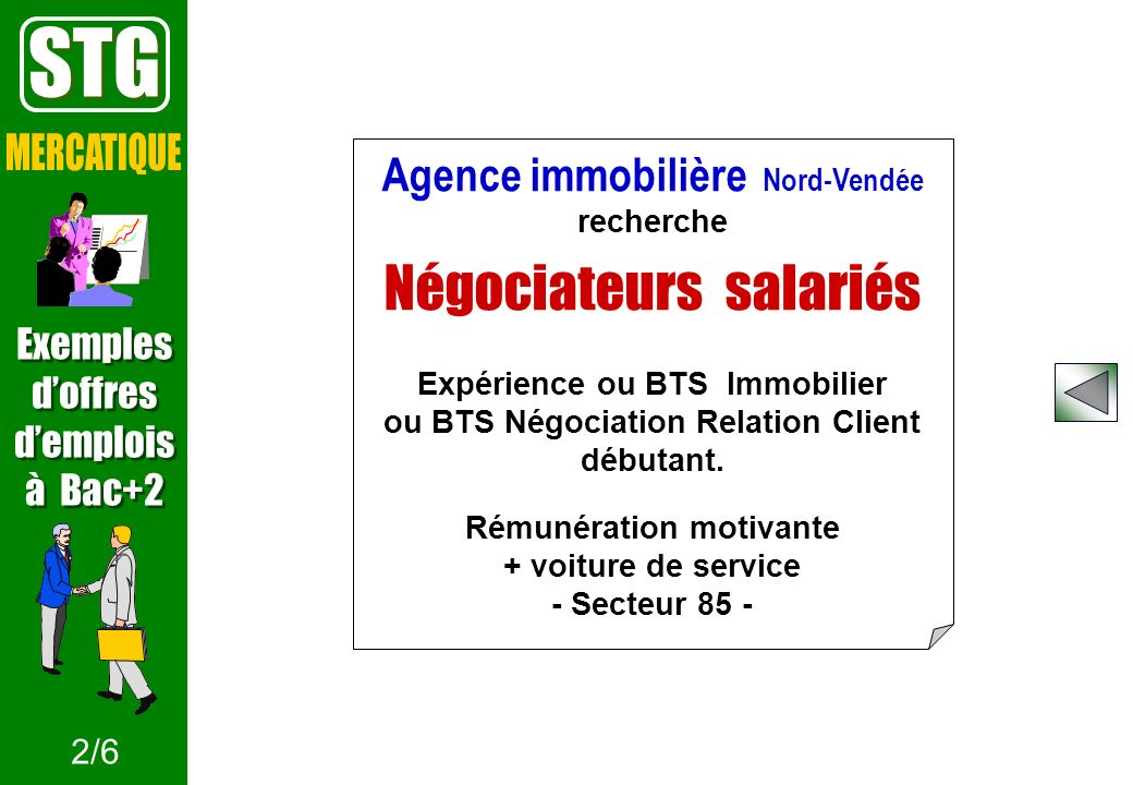 STG Négociateurs salariés MERCATIQUE Agence immobilière Nord-Vendée