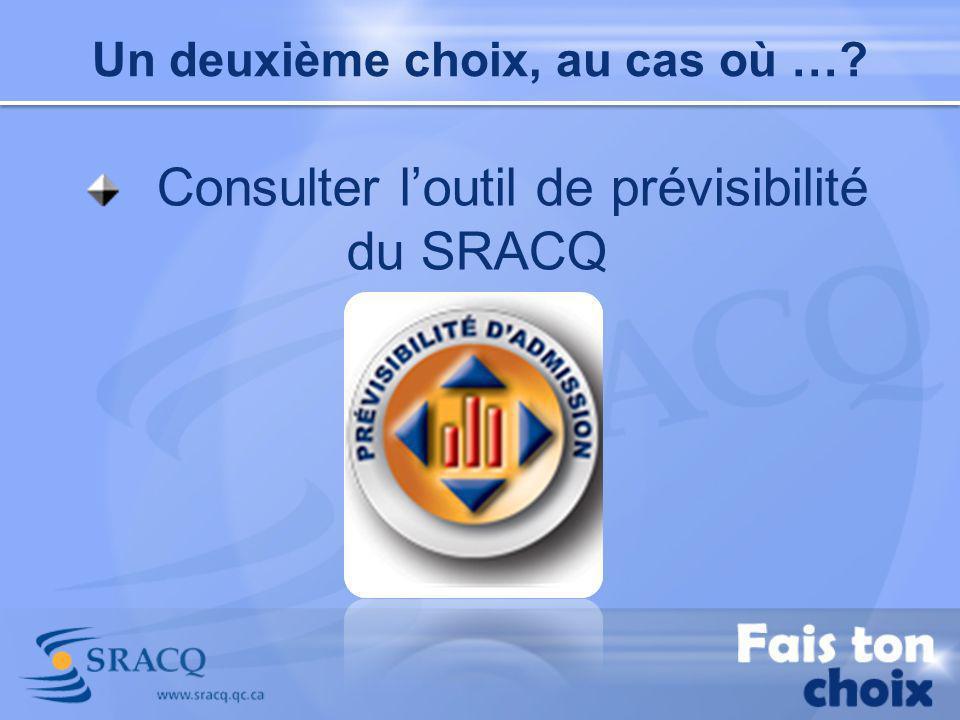 Consulter l'outil de prévisibilité du SRACQ
