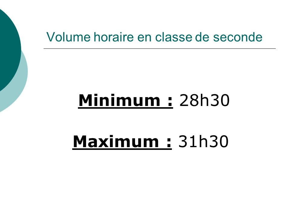 Volume horaire en classe de seconde