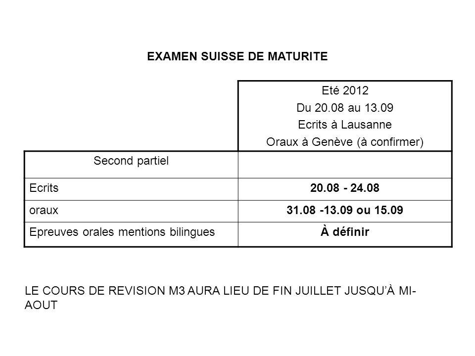 EXAMEN SUISSE DE MATURITE