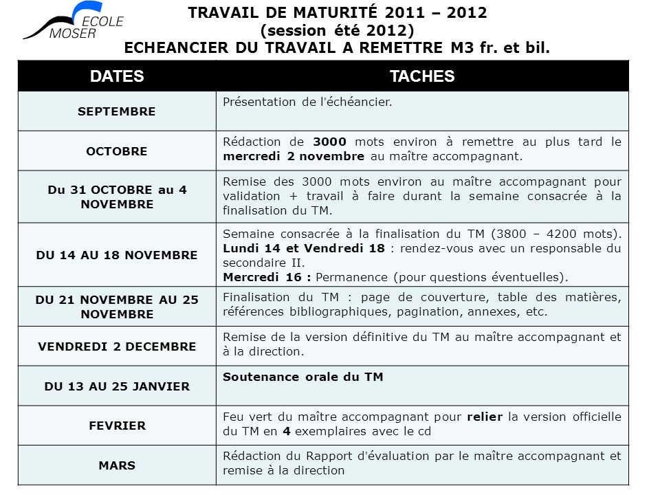 DATES TACHES TRAVAIL DE MATURITÉ 2011 – 2012 (session été 2012)