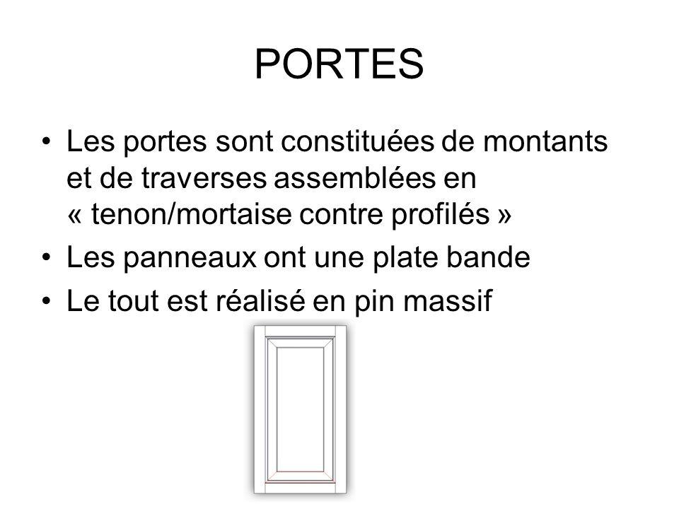 PORTES Les portes sont constituées de montants et de traverses assemblées en « tenon/mortaise contre profilés »