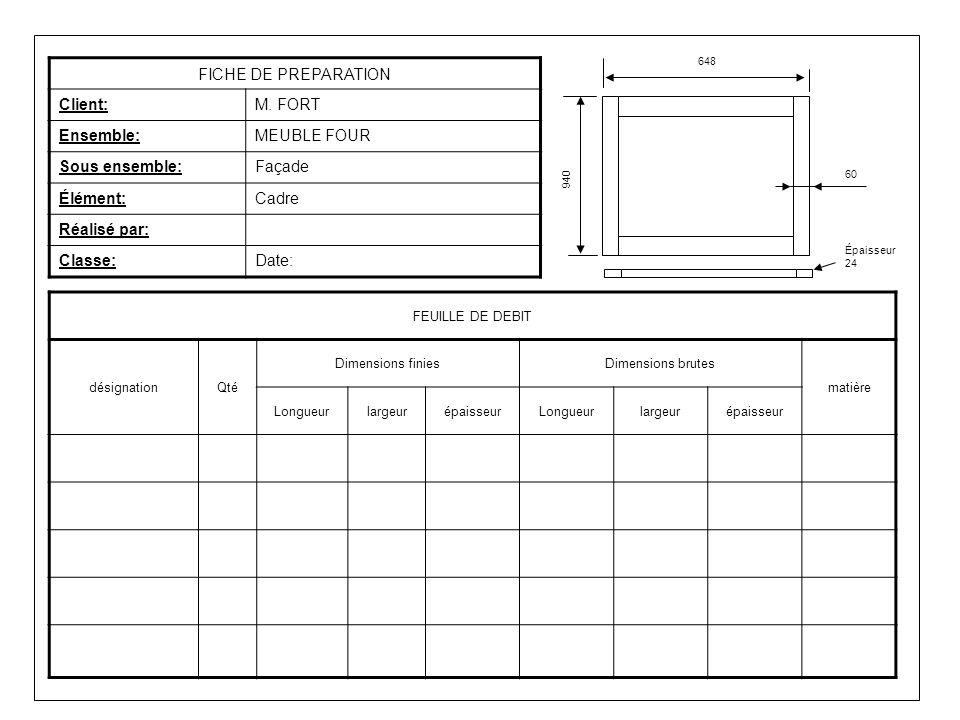 FICHE DE PREPARATION Client: M. FORT Ensemble: MEUBLE FOUR
