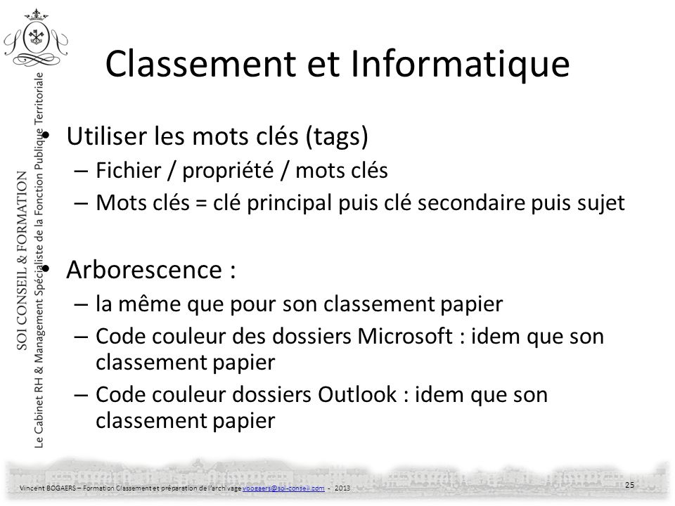 Classement et Informatique