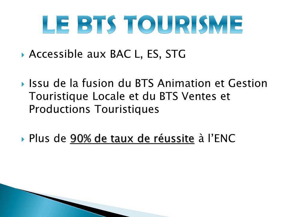 LE BTS TOURISME Accessible aux BAC L, ES, STG