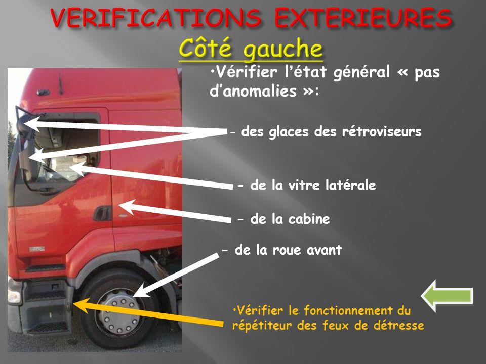 VERIFICATIONS EXTERIEURES Côté gauche