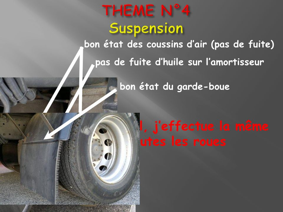 THEME N°4 Suspension bon état des coussins d'air (pas de fuite) pas de fuite d'huile sur l'amortisseur.