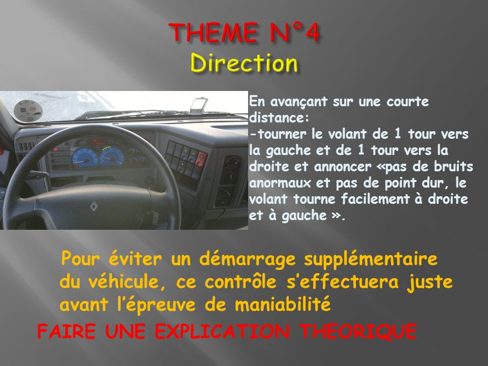 THEME N°4 DirectionEn avançant sur une courte distance: