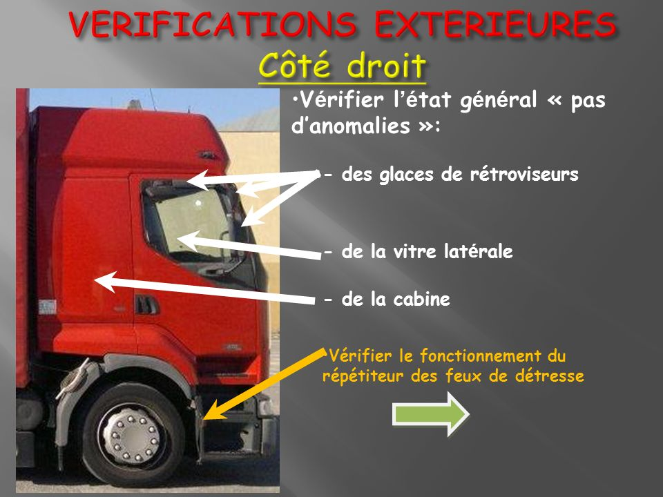 VERIFICATIONS EXTERIEURES Côté droit