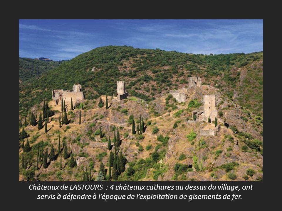 Châteaux de LASTOURS : 4 châteaux cathares au dessus du village, ont