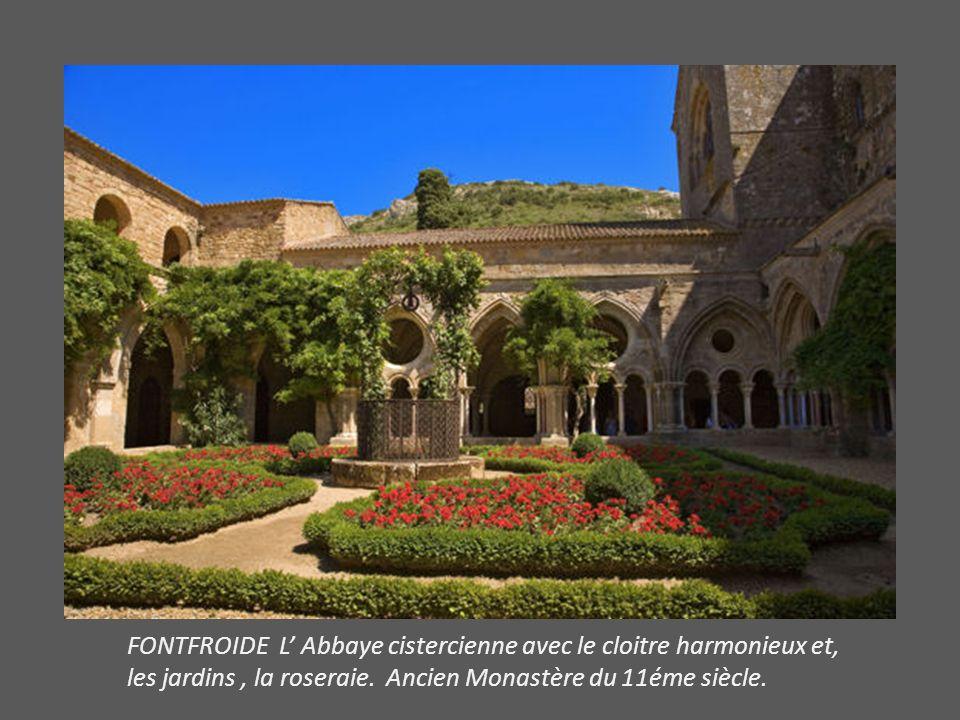 FONTFROIDE L' Abbaye cistercienne avec le cloitre harmonieux et, les jardins , la roseraie.