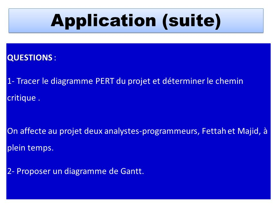 Application (suite) QUESTIONS :