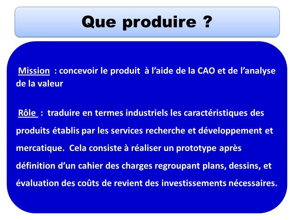 Que produire Mission : concevoir le produit à l'aide de la CAO et de l'analyse de la valeur.