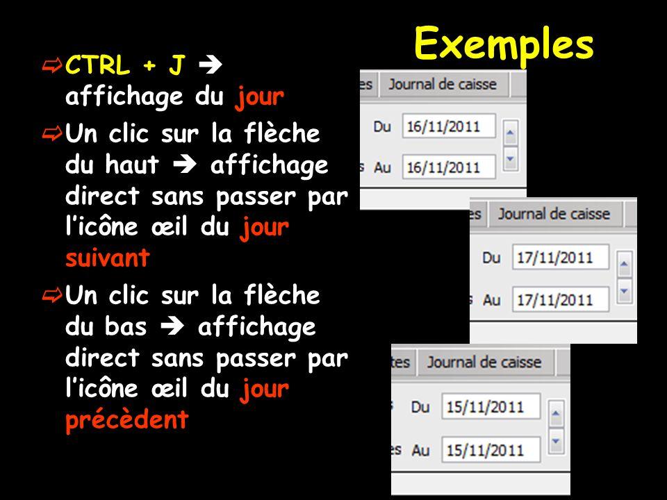Exemples CTRL + J  affichage du jour