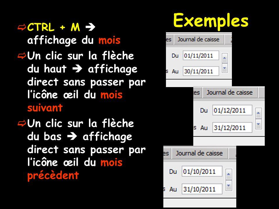 Exemples CTRL + M  affichage du mois