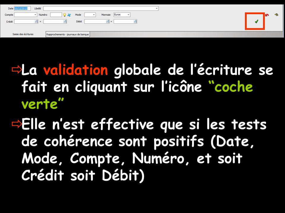 La validation globale de l'écriture se fait en cliquant sur l'icône coche verte