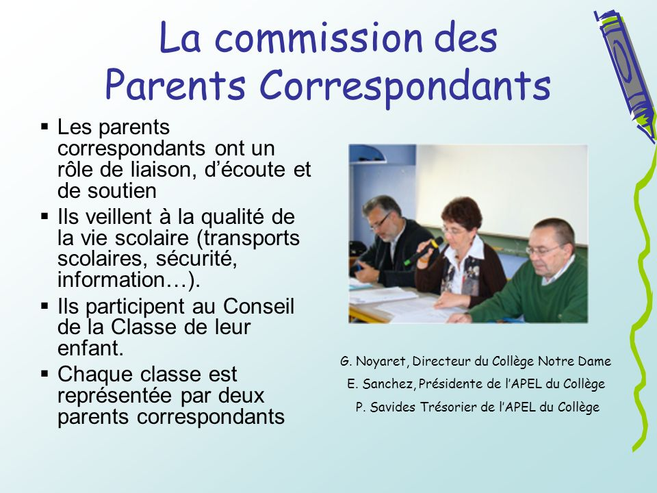 La commission des Parents Correspondants