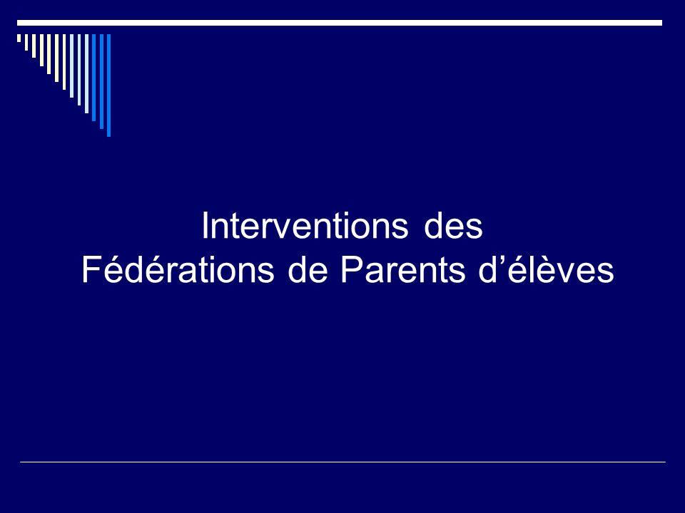 Interventions des Fédérations de Parents d'élèves