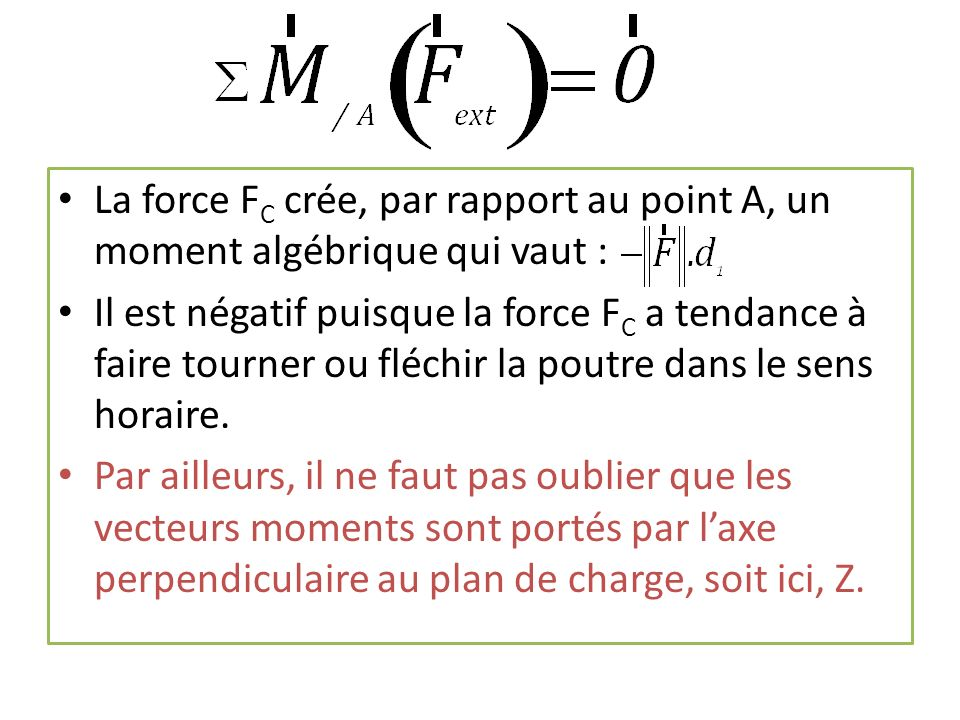 La force FC crée, par rapport au point A, un moment algébrique qui vaut :