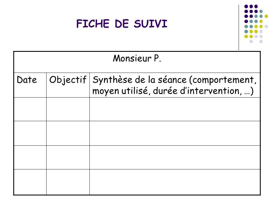 FICHE DE SUIVI Monsieur P. Date Objectif