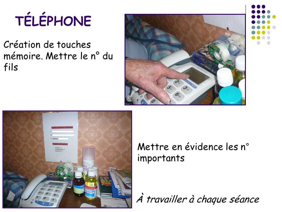 TÉLÉPHONE Création de touches mémoire. Mettre le n° du fils