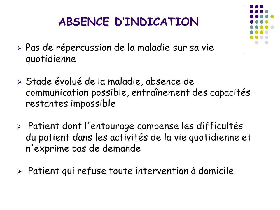 ABSENCE D'INDICATION Pas de répercussion de la maladie sur sa vie quotidienne.