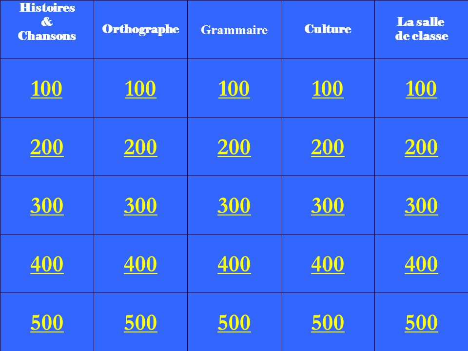 Histoires & Chansons. Orthographe. Grammaire. Culture. La salle. de classe. 100. 100. 100.