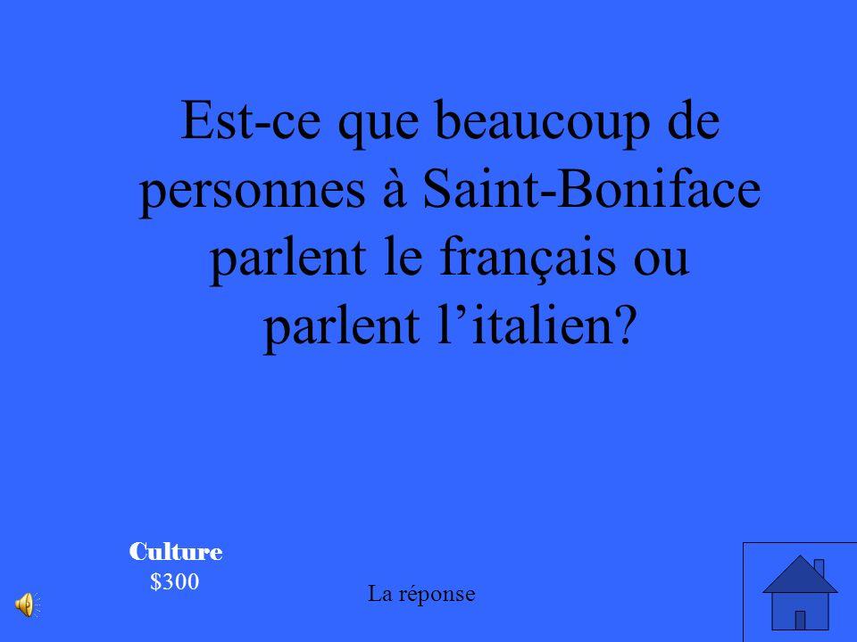 Est-ce que beaucoup de personnes à Saint-Boniface parlent le français ou parlent l'italien