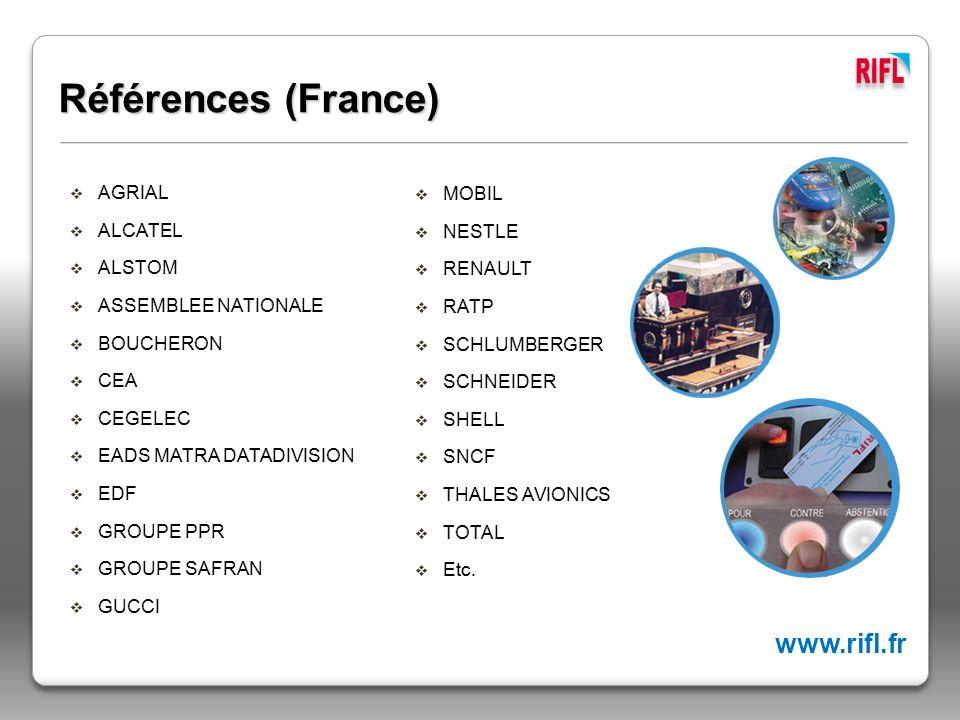 Références (France) www.rifl.fr AGRIAL ALCATEL ALSTOM