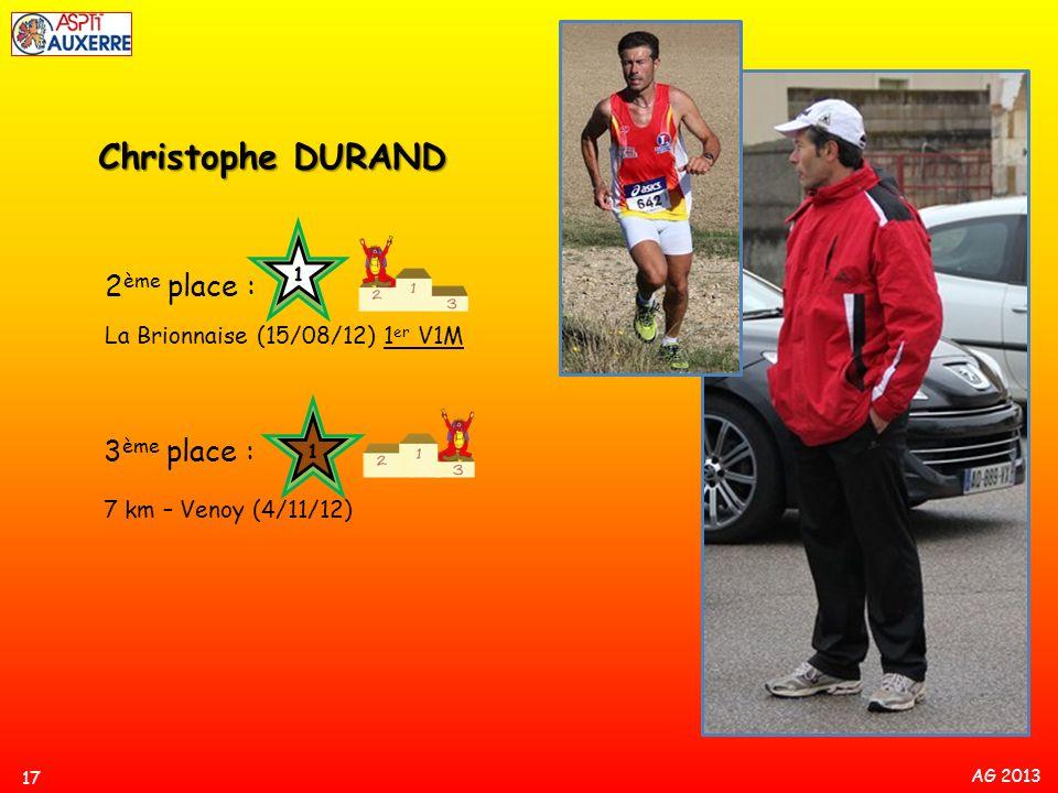 Christophe DURAND 2ème place : 3ème place :