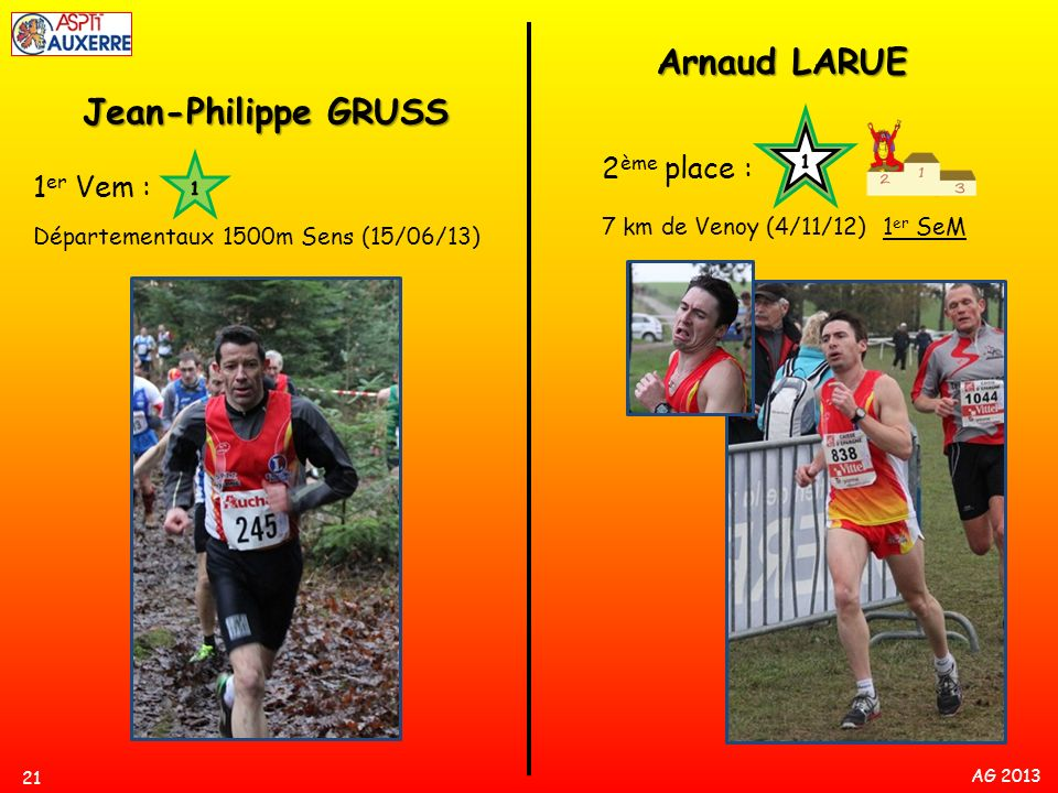 Arnaud LARUE Jean-Philippe GRUSS 2ème place : 1er Vem :