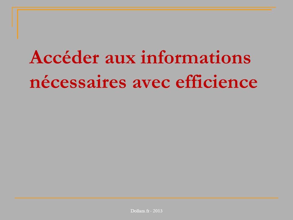 Accéder aux informations nécessaires avec efficience