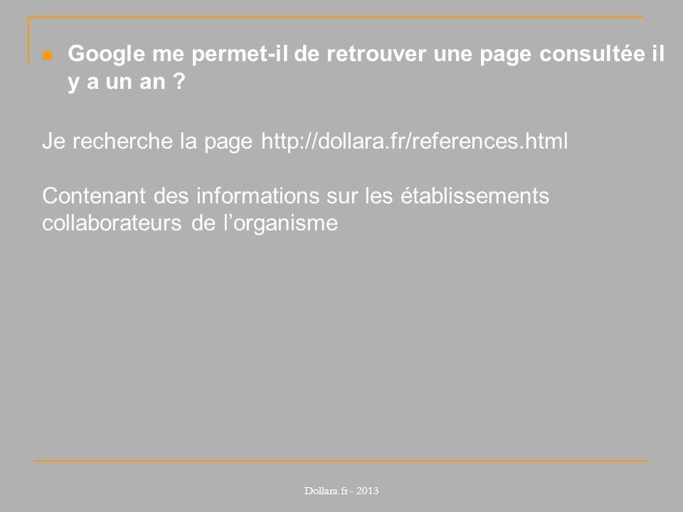 Google me permet-il de retrouver une page consultée il y a un an