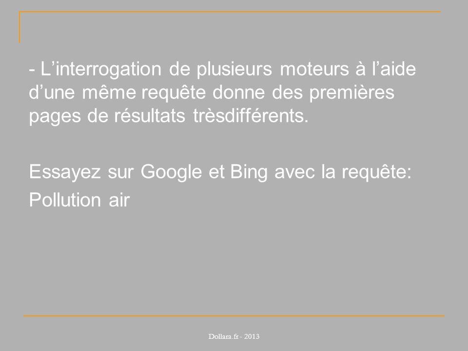 Essayez sur Google et Bing avec la requête: Pollution air