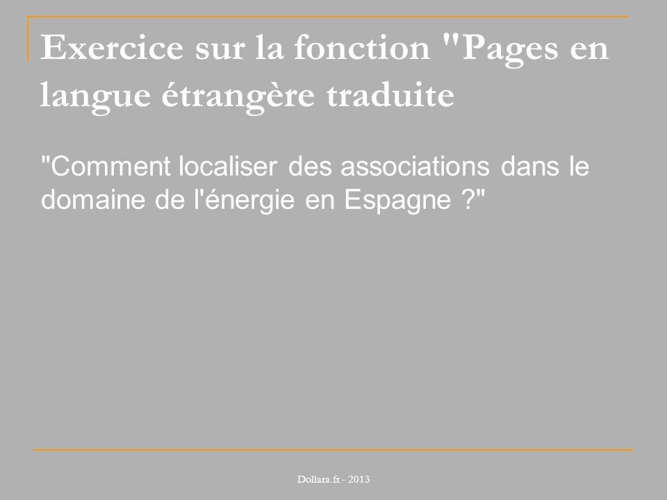 Exercice sur la fonction Pages en langue étrangère traduite