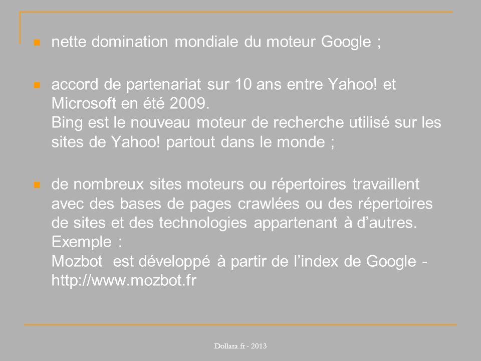 nette domination mondiale du moteur Google ;
