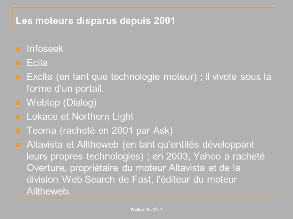 Les moteurs disparus depuis 2001 Infoseek Ecila