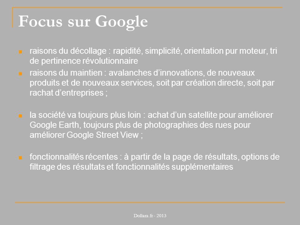 Focus sur Google raisons du décollage : rapidité, simplicité, orientation pur moteur, tri de pertinence révolutionnaire.