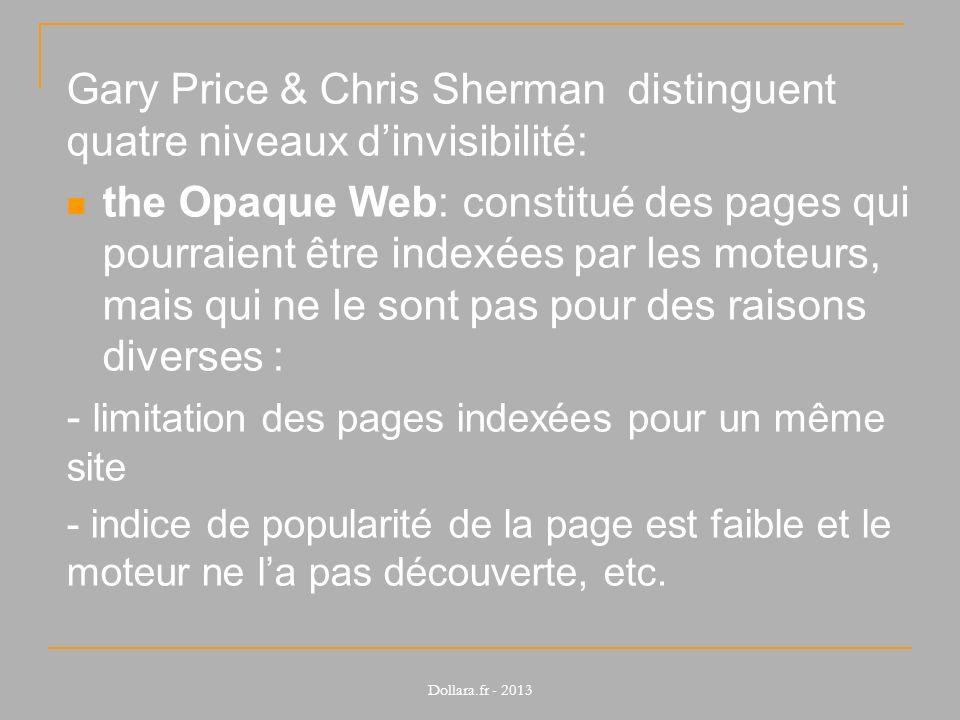 Gary Price & Chris Sherman distinguent quatre niveaux d'invisibilité: