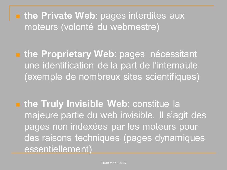 the Private Web: pages interdites aux moteurs (volonté du webmestre)