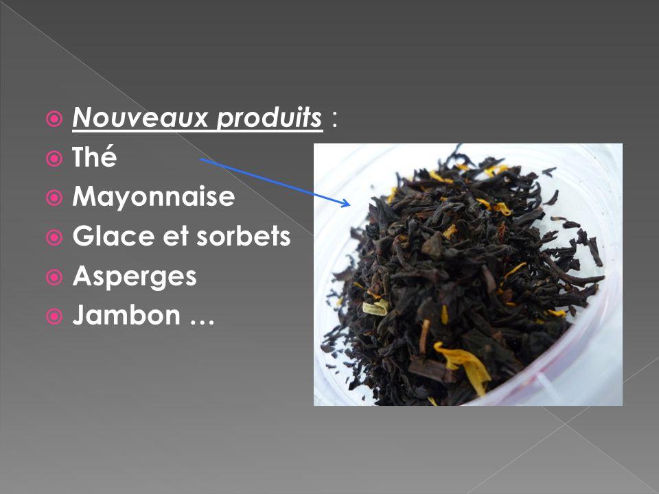 Nouveaux produits : Thé Mayonnaise Glace et sorbets Asperges Jambon …
