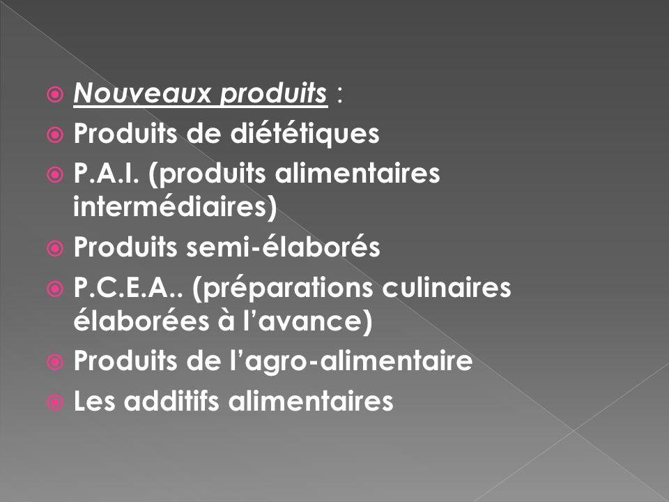 Nouveaux produits : Produits de diététiques. P.A.I. (produits alimentaires intermédiaires) Produits semi-élaborés.