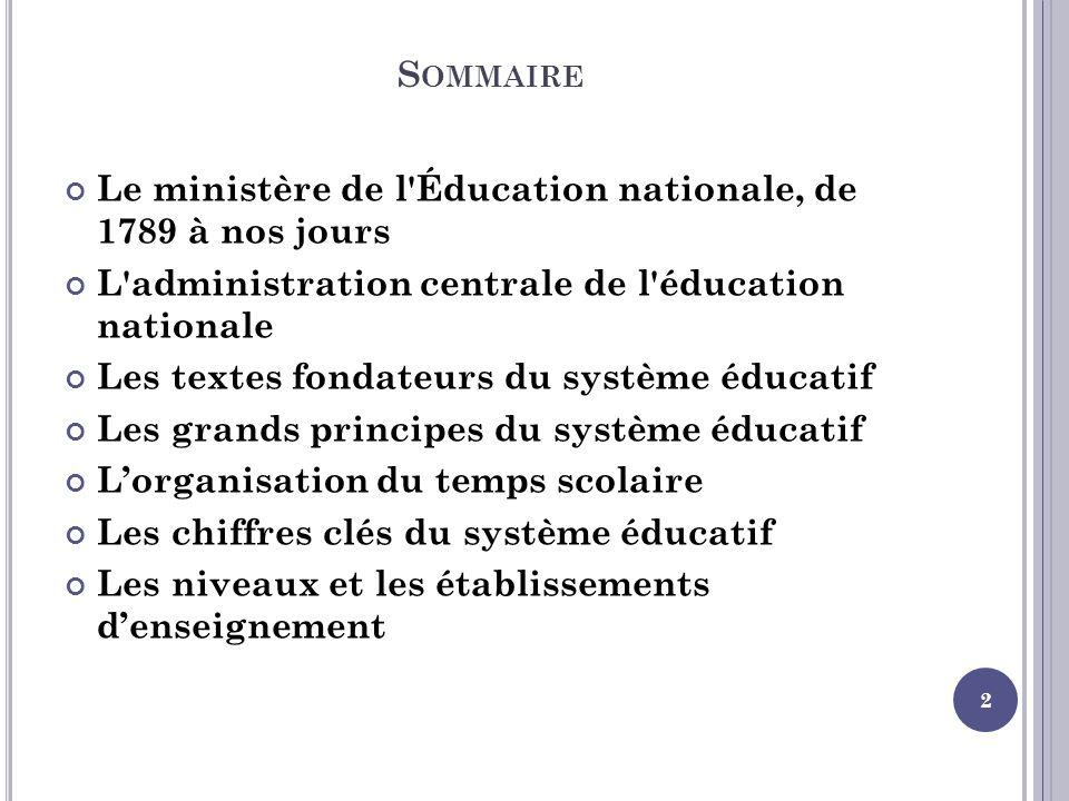 Sommaire Le ministère de l Éducation nationale, de 1789 à nos jours. L administration centrale de l éducation nationale.