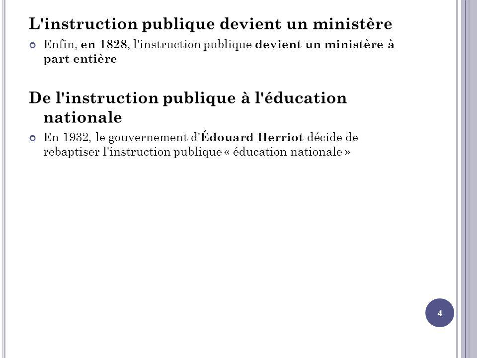 L instruction publique devient un ministère