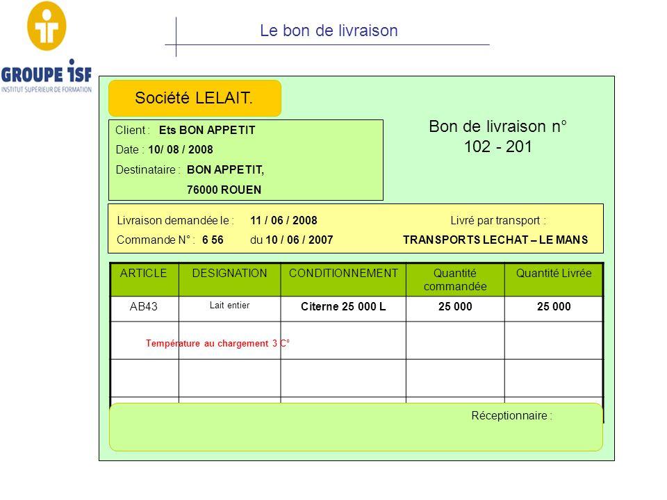 Le bon de livraison Société LELAIT. Bon de livraison n° 102 - 201