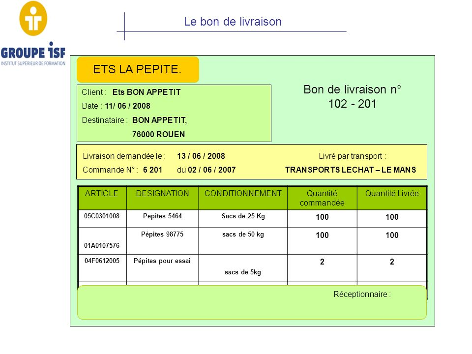 Le bon de livraison ETS LA PEPITE. Bon de livraison n° 102 - 201