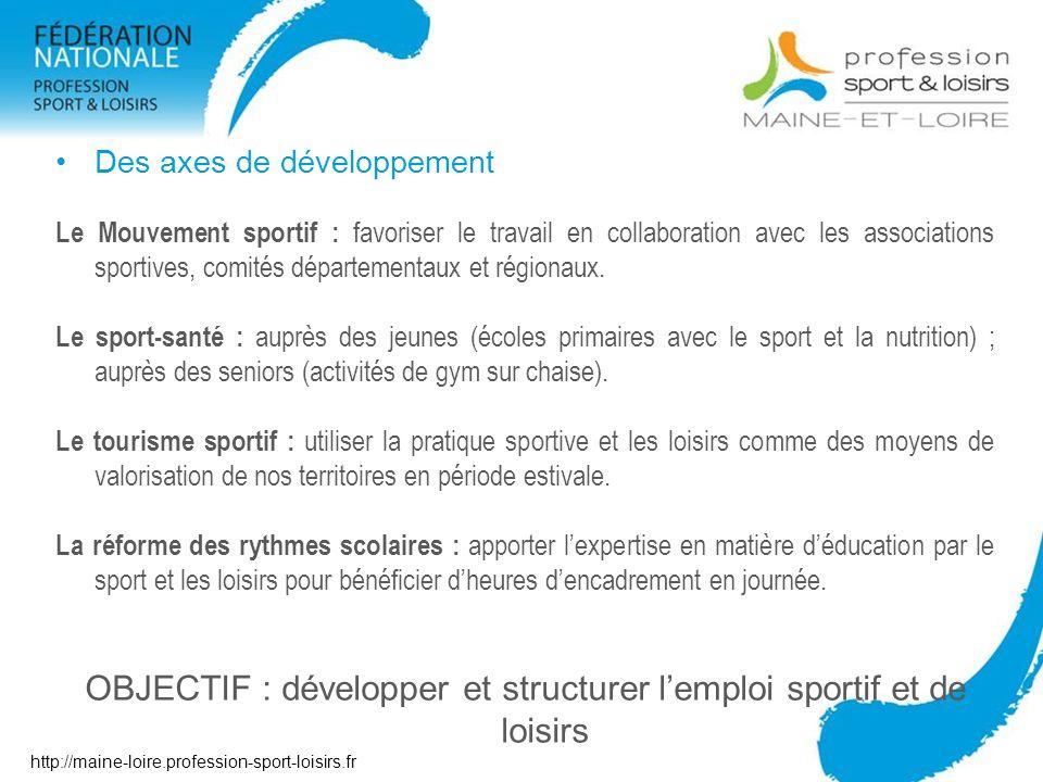 OBJECTIF : développer et structurer l'emploi sportif et de loisirs