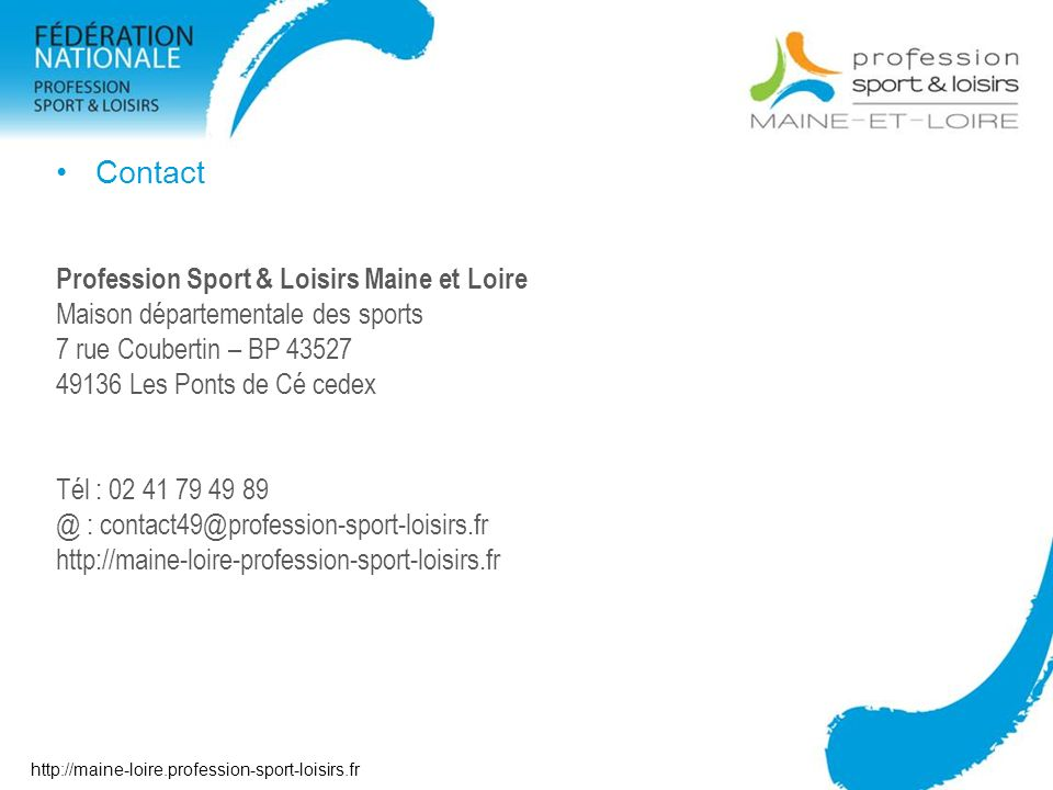 Contact Profession Sport & Loisirs Maine et Loire