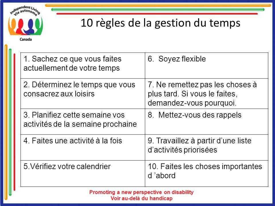10 règles de la gestion du temps