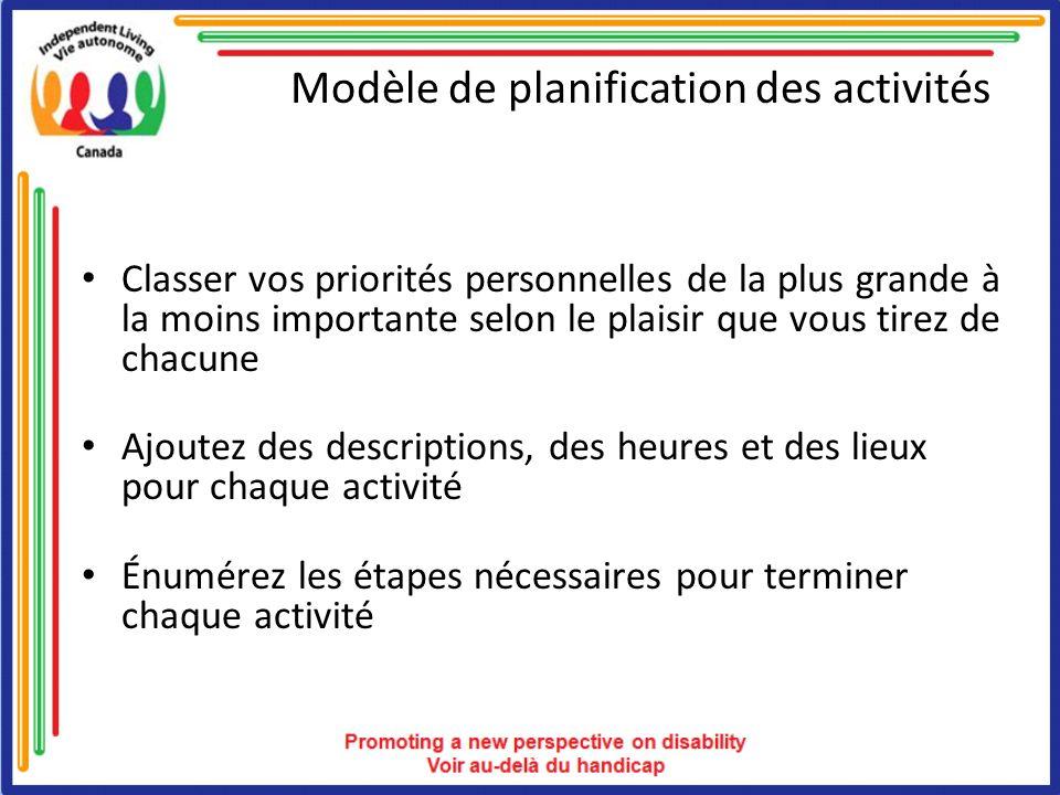 Modèle de planification des activités